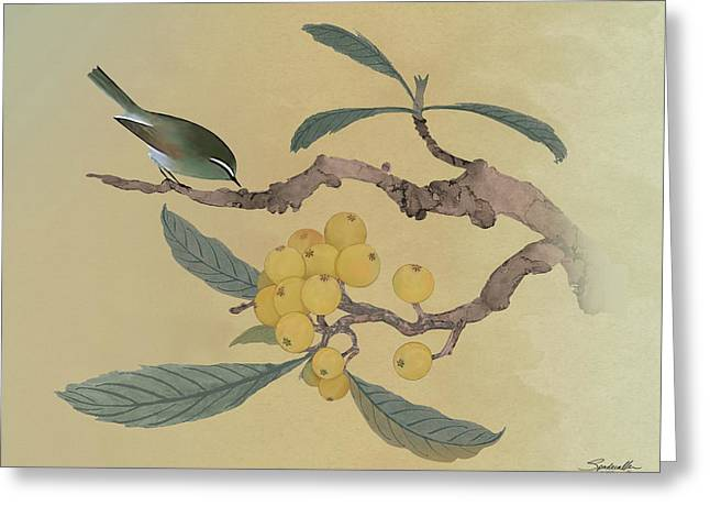 Bird In Loquat Tree Greeting Card