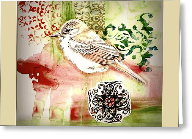 Greeting Card featuring the mixed media Bird Love by Rose Legge