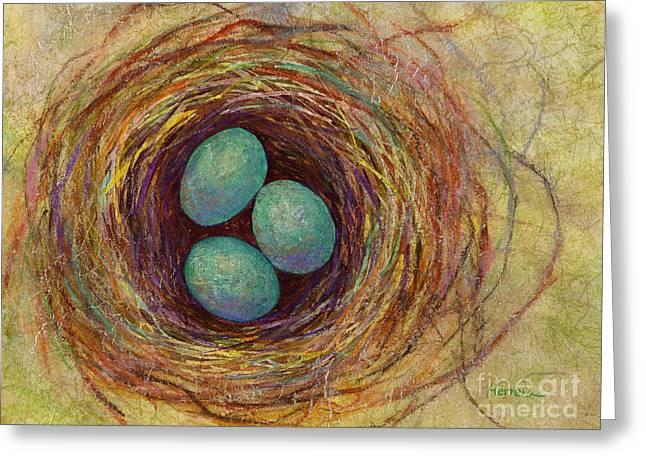 Bird Nest Greeting Card by Hailey E Herrera