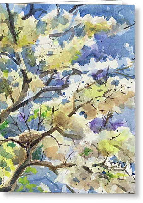 Bird Nest In The Catalpa Blooms Greeting Card by Spencer Meagher