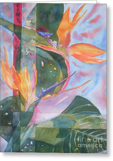 Bird Of Paradise Abstract Greeting Card by Warren Thompson