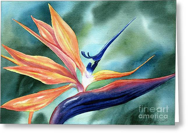Bird Of Paradise Greeting Card by Deborah Ronglien