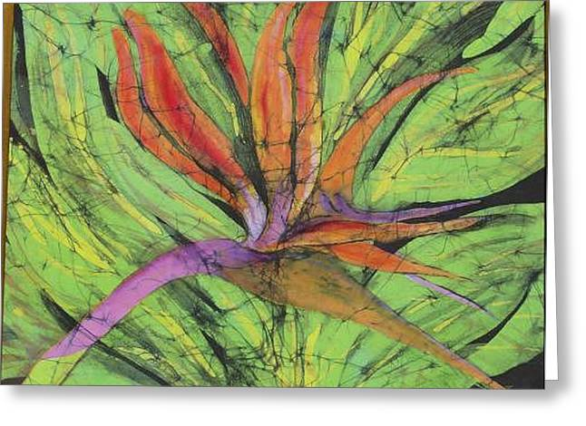 Blooms Tapestries - Textiles Greeting Cards - Bird of Paradise III Fine Art Batik Greeting Card by Kay Shaffer