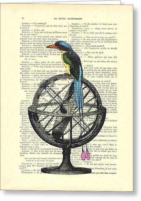 Colorful Bird Of Paradise Sitting On Globe Greeting Card by Madame Memento