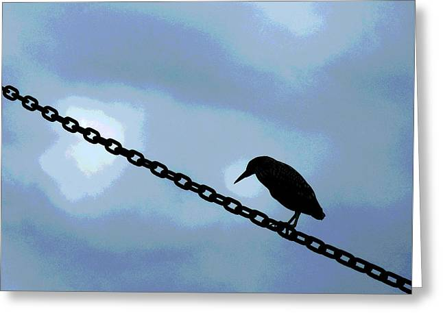 Bird On A Wire Greeting Card by Sharon Eng