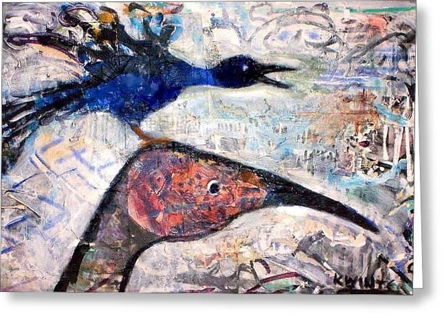 Bird On Bird Greeting Card by Dave Kwinter