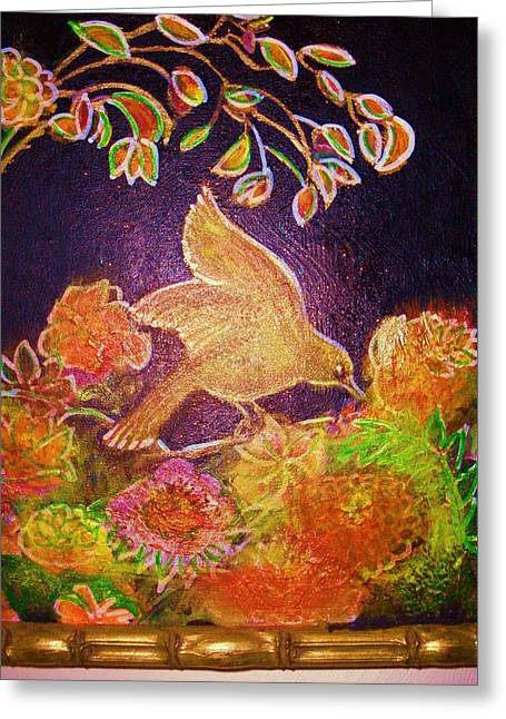 Bird On Flowers On A  Glorious Night Greeting Card by Anne-Elizabeth Whiteway