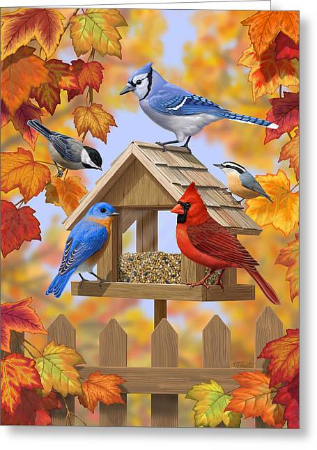 Bird Painting - Autumn Aquaintances Greeting Card