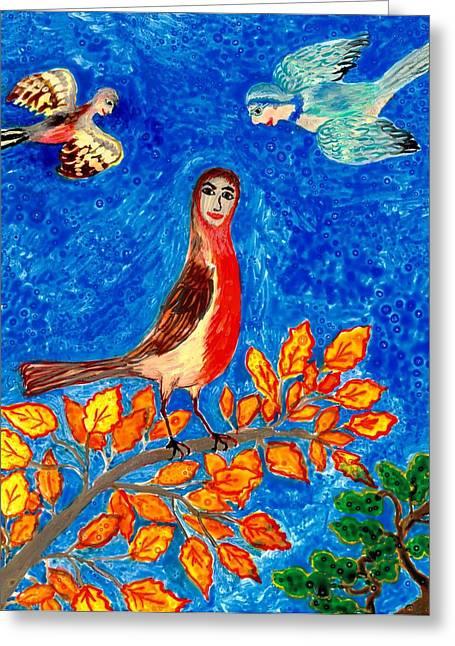 Bird People Robin Greeting Card by Sushila Burgess