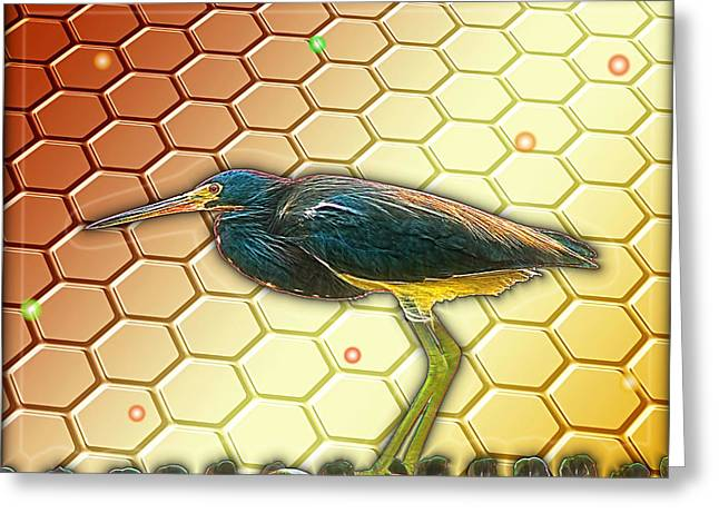 Greeting Card featuring the digital art Bird Ponders The Disappearing Bees And Several Biological Markers Left In The Hive by Wendy J St Christopher