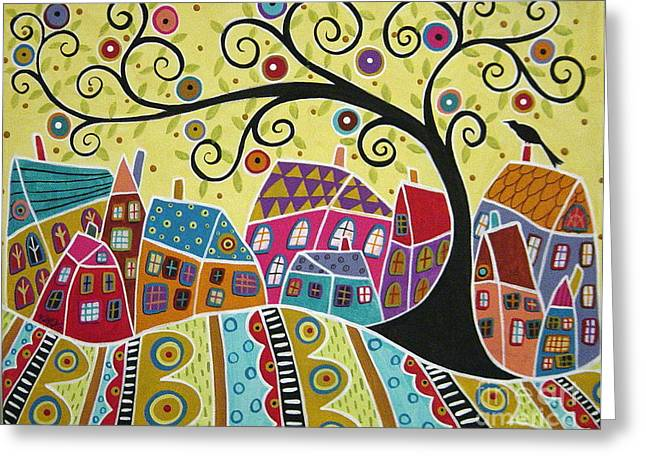 Bird Ten Houses And A Swirl Tree Greeting Card