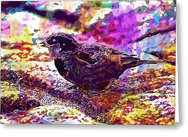 Greeting Card featuring the digital art Bird The Sparrow Nature Pen  by PixBreak Art