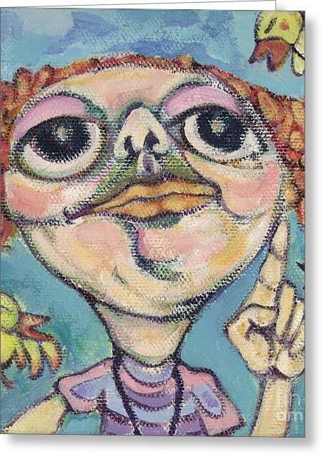 Bird Watcher Greeting Card by Michelle Spiziri