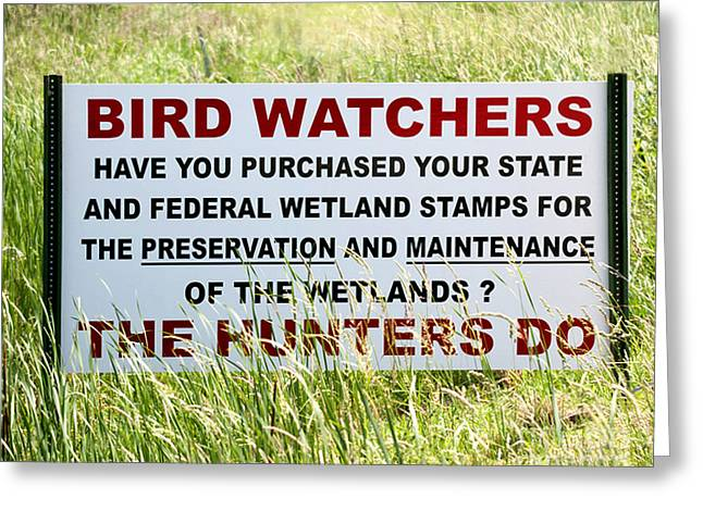 Bird Watcher Sign Greeting Card by Timothy Flanigan