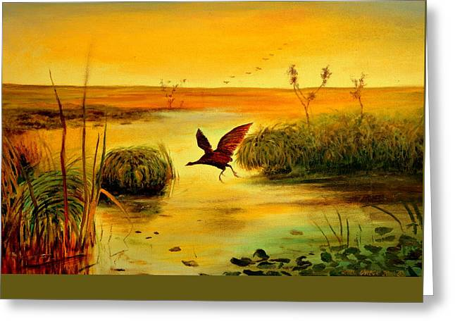 Bird Water Greeting Card by Henryk Gorecki