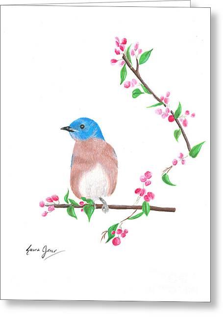 Minimal Bird And Cherry Flowers Greeting Card