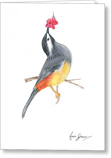 Minimal Bird And Flower Greeting Card