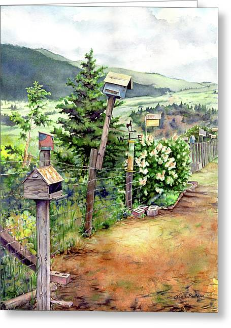 Birdhouse Alley Greeting Card by Leslie Redhead