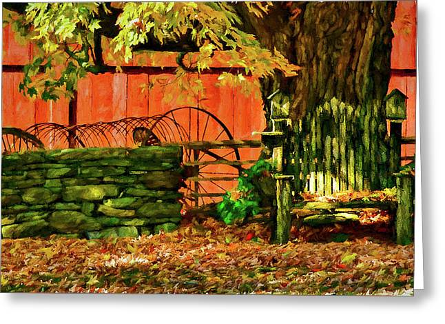 Greeting Card featuring the photograph Birdhouse Chair In Autumn by Jeff Folger