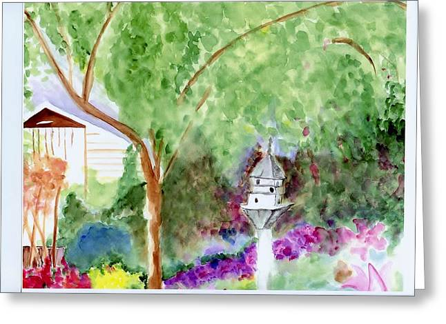 Greeting Card featuring the painting Birdhouse by Jamie Frier