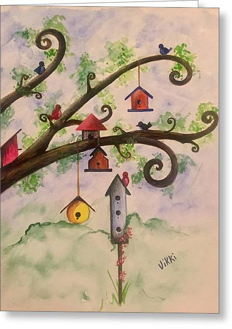 Birdhouses Greeting Card