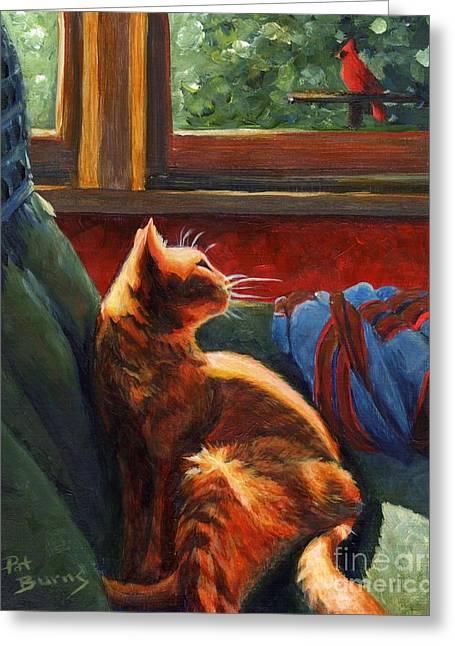 Birdie In The Window Greeting Card by Pat Burns