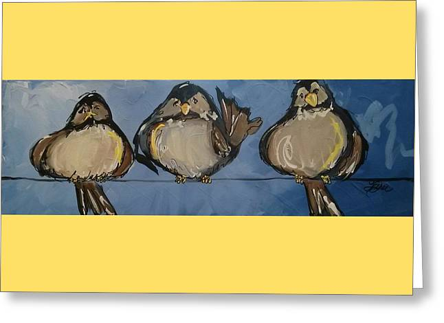 Birdies On A Wire Greeting Card