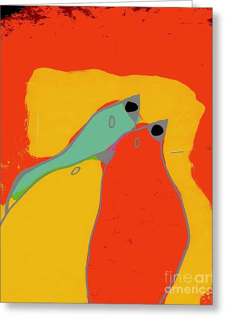 Birdies - Q11a Greeting Card by Variance Collections