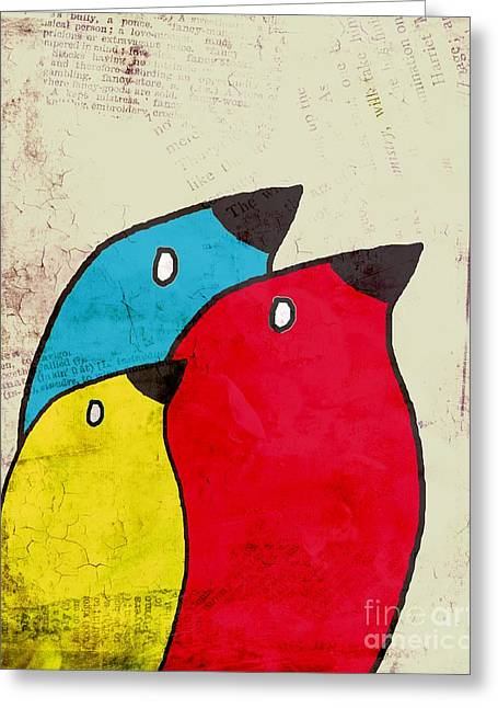 Birdies - V01s1t Greeting Card by Variance Collections