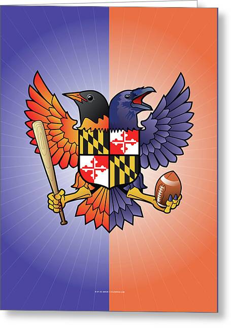 Birdland Baltimore Raven And Oriole Maryland Crest Greeting Card