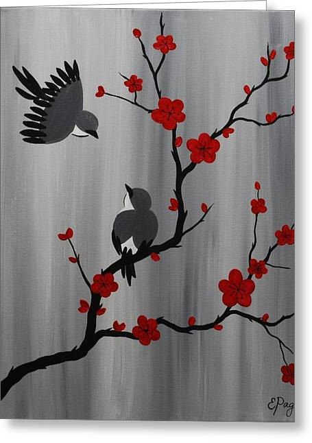 Birds And Blooms In Red Greeting Card by Emily Page