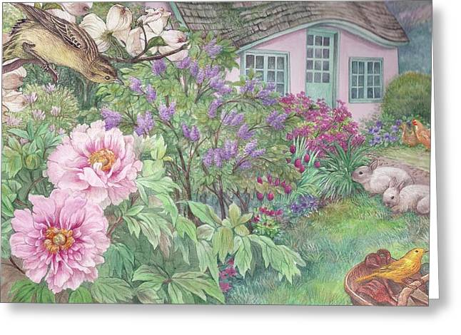Greeting Card featuring the painting Birds And Bunnies In Cottage Garden by Judith Cheng
