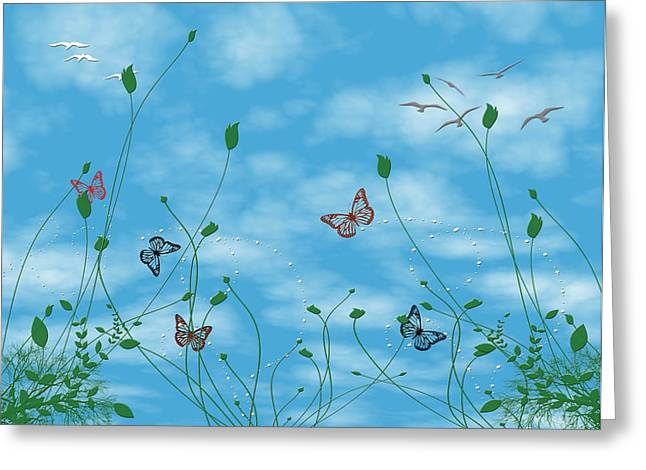 Birds And Butterflies  Greeting Card by Evelyn Patrick