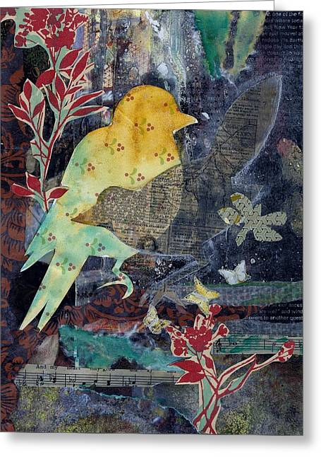 Greeting Card featuring the mixed media Birds And Butterflies by Jillian Goldberg