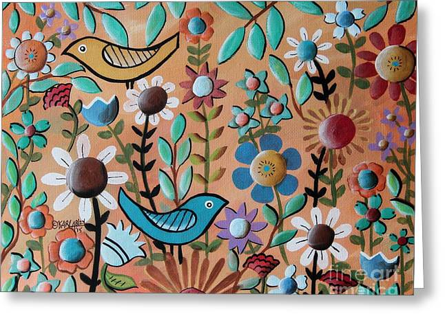 Birds And Flowers 1 Greeting Card by Karla Gerard