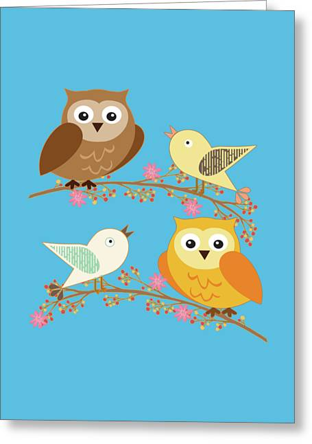 Birds And Owls Greeting Card