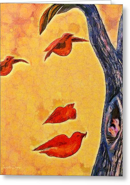 Birds And Tree - Pa Greeting Card by Leonardo Digenio