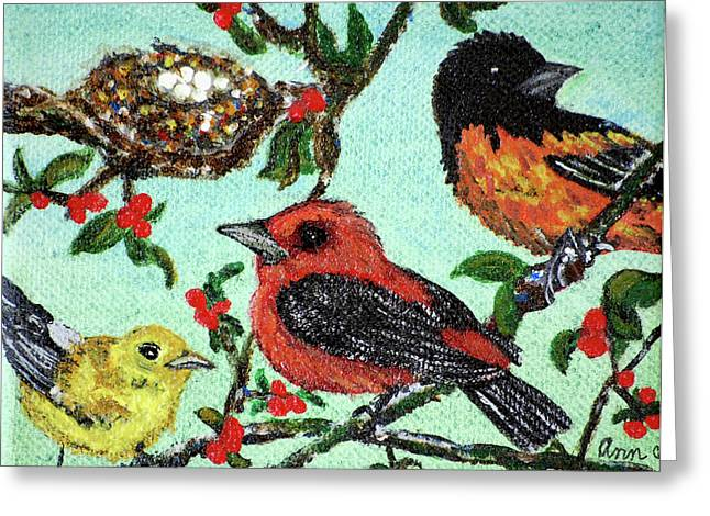 Birds By The Nest Greeting Card by Ann Ingham
