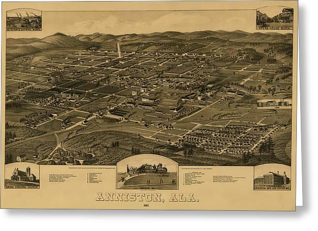 Bird's Eye View Of Anniston Alabama 1887 Greeting Card