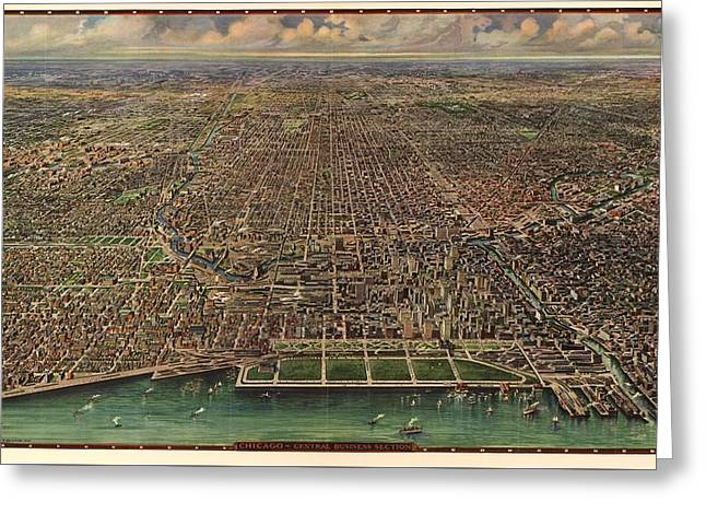 Birds Eye View Of Chicago 1916 Greeting Card by Mountain Dreams
