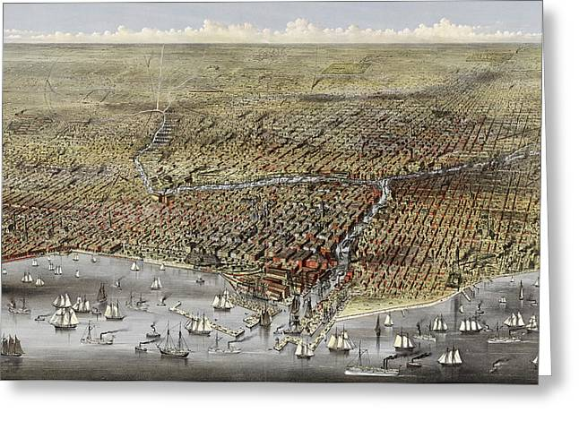 Bird's Eye View Of Chicago, Illinois From Above Lake Michigan, Circa 1874 Greeting Card by Currier and Ives