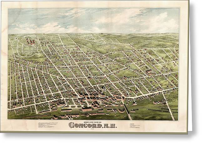 Bird's Eye View Of Concord, N.h. Greeting Card