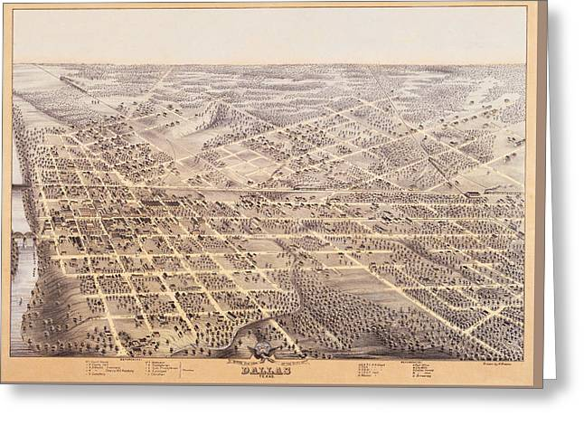 Birds Eye View Of Dallas Texas 1872 Greeting Card by Bill Cannon
