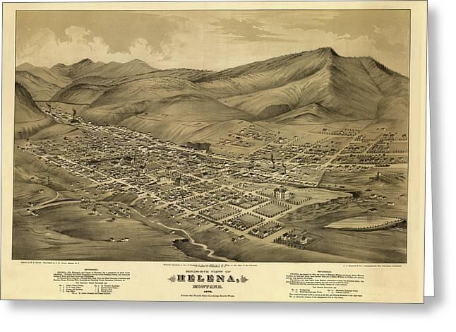 Birds-eye View Of Helena, Montana 1875 Greeting Card
