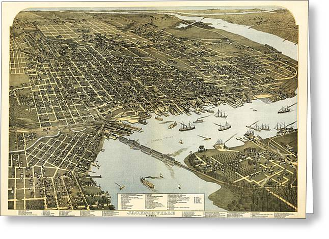 Birds Eye View Of Jacksonville Florida 1893 Greeting Card by Bill Cannon