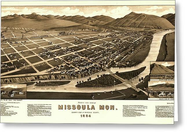 Bird's Eye View Of Missoula, Mon. County Seat Of Missoula County 1884 Greeting Card