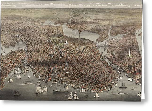 Birds Eye View Of The City Of Boston, Circa 1873 Greeting Card by Currier and Ives
