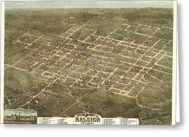 Bird's Eye View Of The City Of Raleigh, North Carolina 1872 Greeting Card