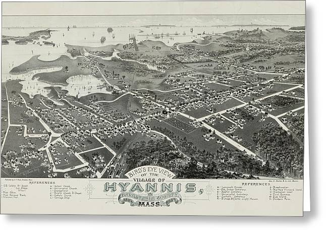 Bird's Eye View Of The Village Of Hyannis, Barnstable County, Mass. Greeting Card