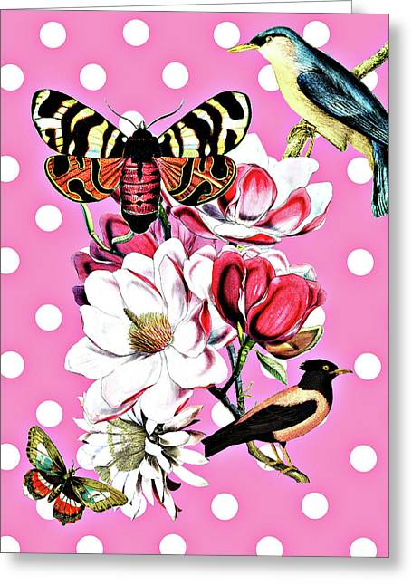 Birds, Flowers Butterflies And Polka Dots Greeting Card